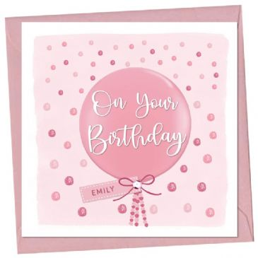 Big Pink Balloon Personalised Birthday Card